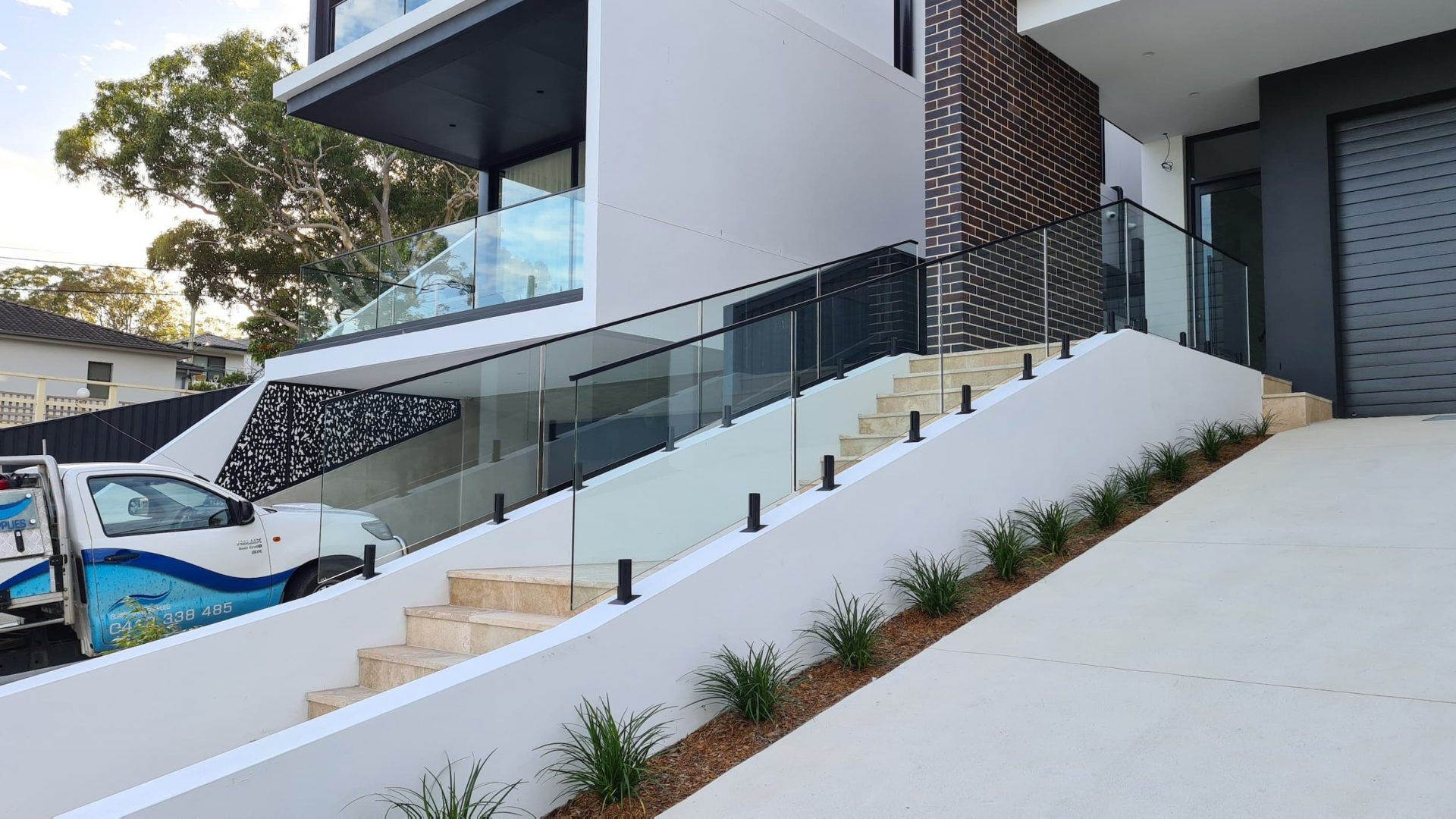 External Stairs Glass Balustrades, Oatley - Glass Fence Supplies
